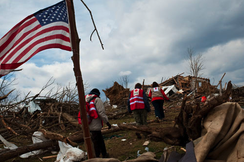The Red Cross on the scene after the tornado hit Henryville, IN.